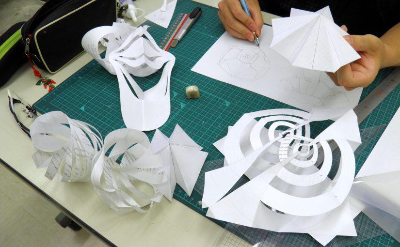 デザイン・工芸科昼間部の課題~紙による立体構成の基礎